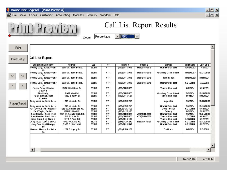 Call List Report Results