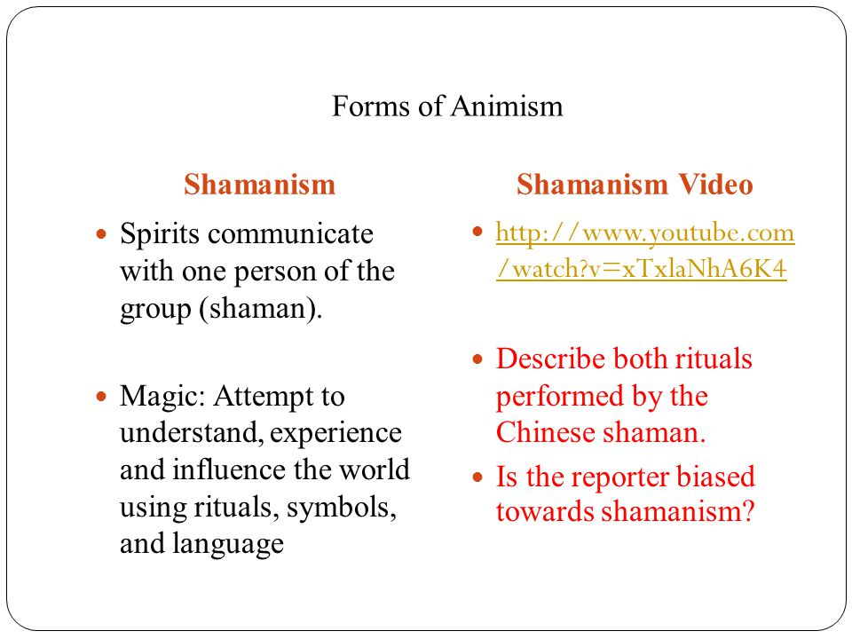Forms of Animism ShamanismShamanism Video Spirits communicate with one person of the group (shaman). Magic: Attempt to understand, experience and infl