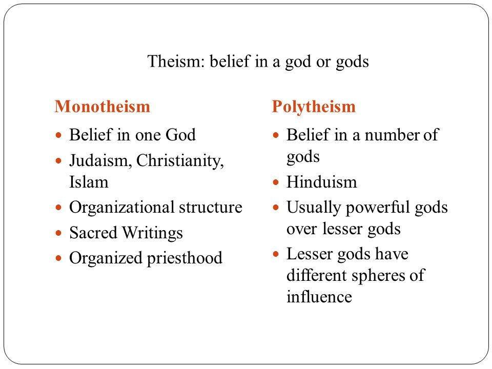 Theism: belief in a god or gods MonotheismPolytheism Belief in one God Judaism, Christianity, Islam Organizational structure Sacred Writings Organized