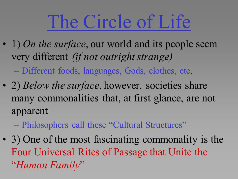 The Circle of Life 1) On the surface, our world and its people seem very different (if not outright strange) –Different foods, languages, Gods, clothe