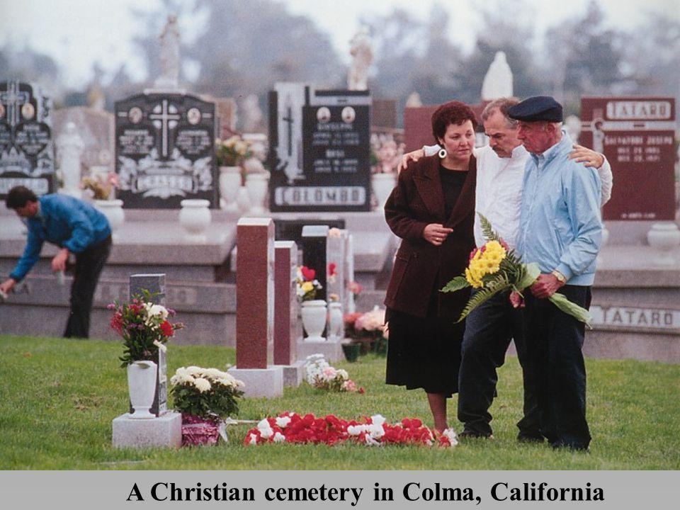 A Christian cemetery in Colma, California