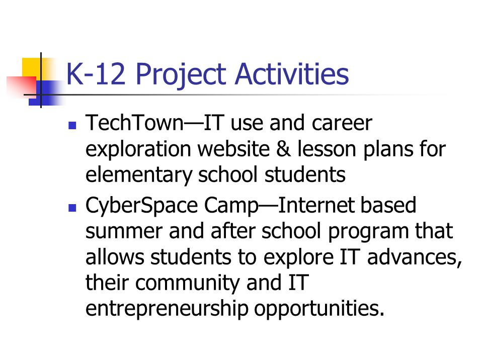 K-12 Project Activities TechTown—IT use and career exploration website & lesson plans for elementary school students CyberSpace Camp—Internet based summer and after school program that allows students to explore IT advances, their community and IT entrepreneurship opportunities.