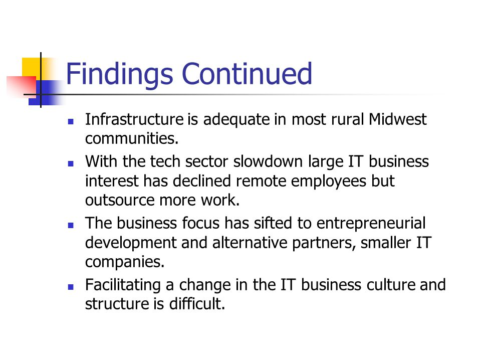 Findings Continued Infrastructure is adequate in most rural Midwest communities.