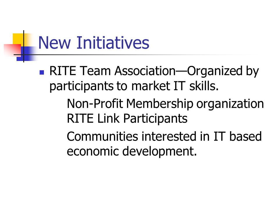New Initiatives RITE Team Association—Organized by participants to market IT skills.