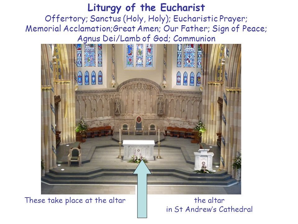 Liturgy of the Eucharist Offertory; Sanctus (Holy, Holy); Eucharistic Prayer; Memorial Acclamation;Great Amen; Our Father; Sign of Peace; Agnus Dei/Lamb of God; Communion These take place at the altar the altar in St Andrew's Cathedral