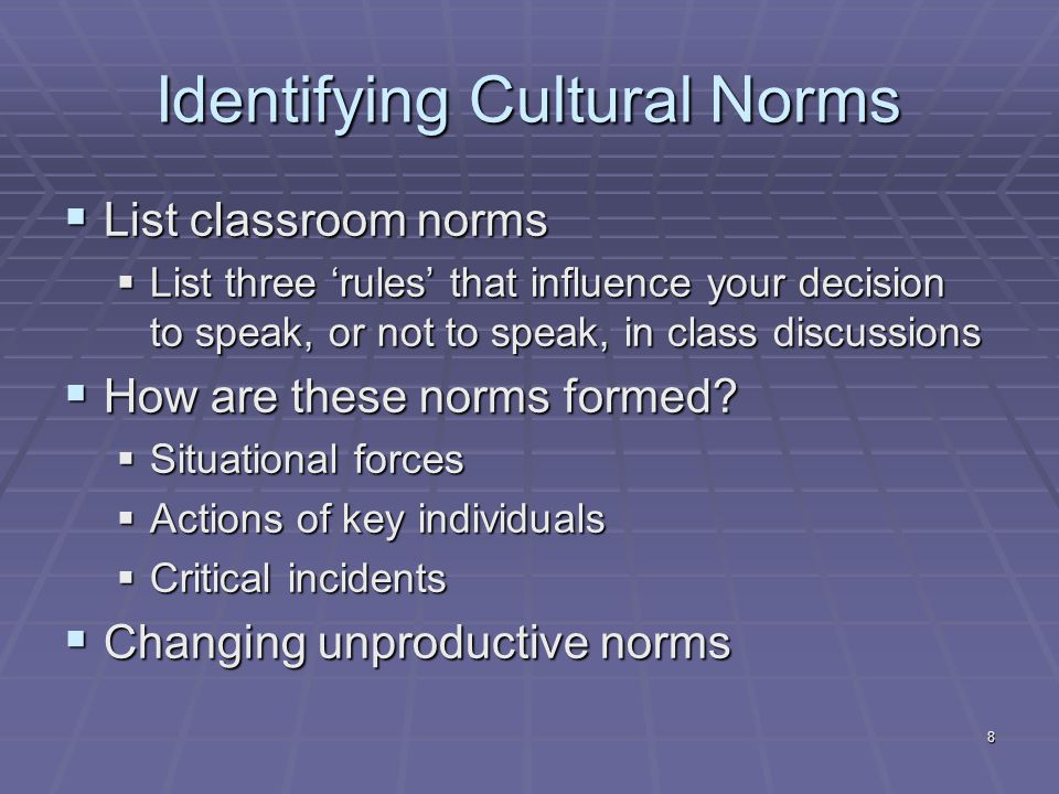 8 Identifying Cultural Norms  List classroom norms  List three 'rules' that influence your decision to speak, or not to speak, in class discussions  How are these norms formed.