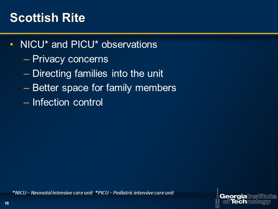 18 Scottish Rite NICU* and PICU* observations –Privacy concerns –Directing families into the unit –Better space for family members –Infection control