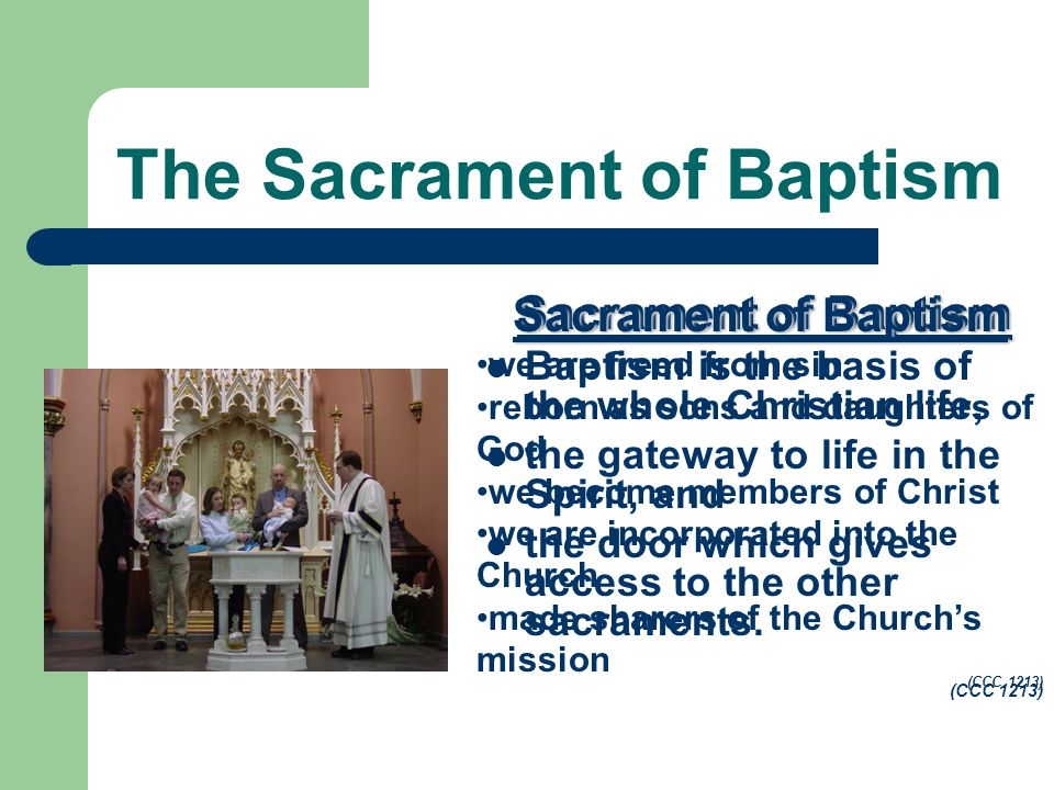 The Sacrament of Baptism Sacrament of Baptism Baptism is the basis of the whole Christian life, the gateway to life in the Spirit, and the door which