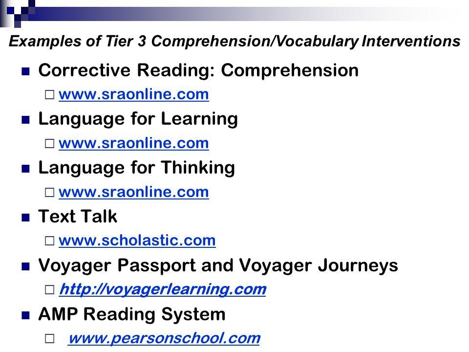 Corrective Reading: Comprehension  www.sraonline.com www.sraonline.com Language for Learning  www.sraonline.com www.sraonline.com Language for Think