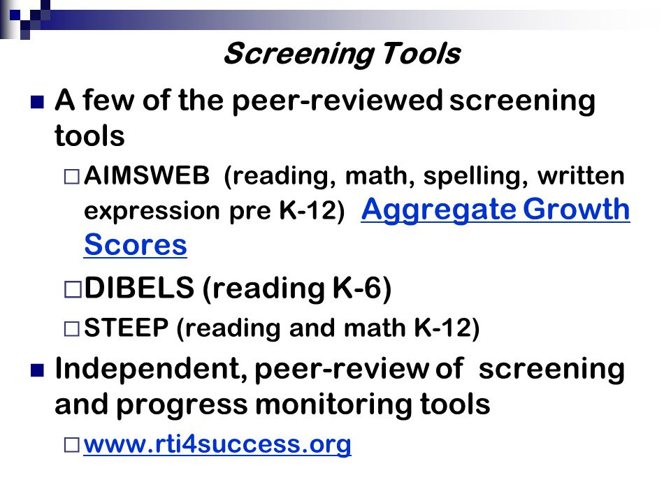 A look at some reading and math screening probes R-CBM Mazes Math Computation Math Concepts and Applications