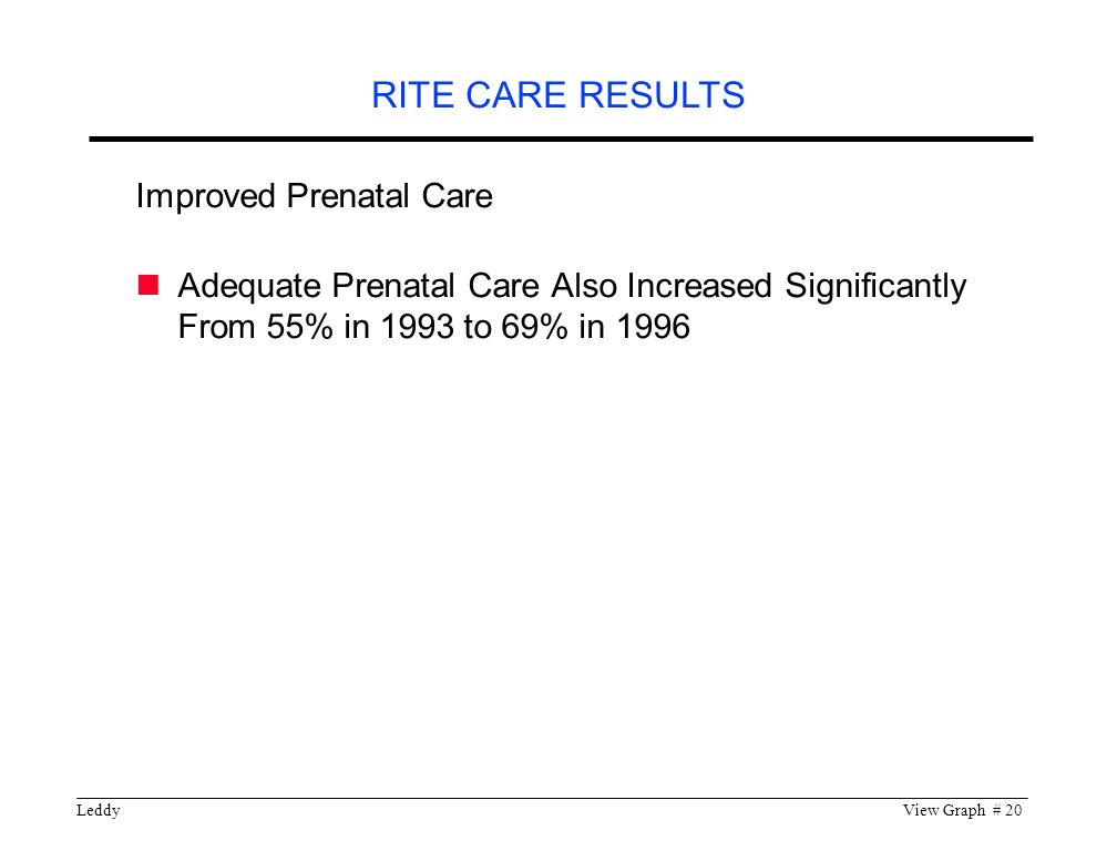 LeddyView Graph # 20 RITE CARE RESULTS Improved Prenatal Care Adequate Prenatal Care Also Increased Significantly From 55% in 1993 to 69% in 1996
