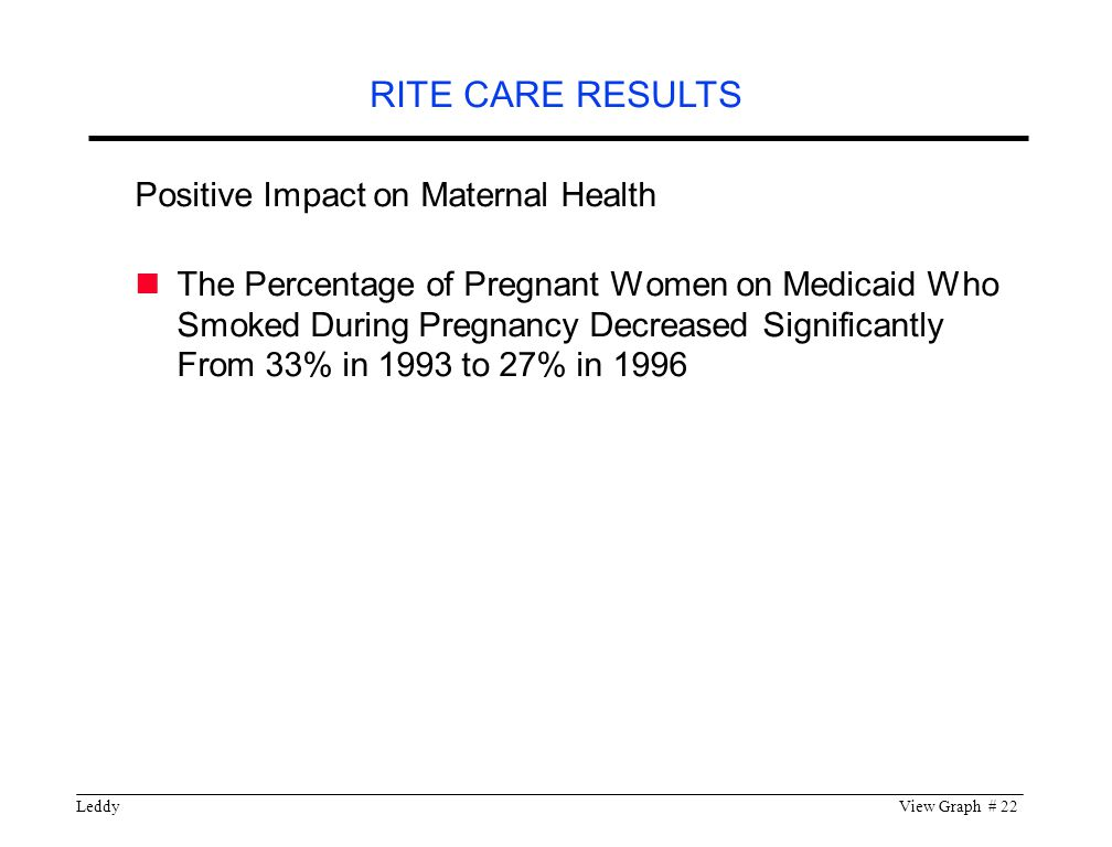 LeddyView Graph # 22 Positive Impact on Maternal Health The Percentage of Pregnant Women on Medicaid Who Smoked During Pregnancy Decreased Significantly From 33% in 1993 to 27% in 1996 RITE CARE RESULTS