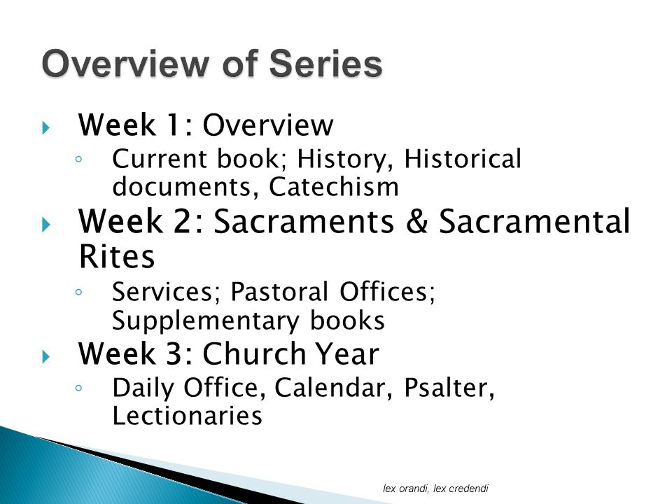  Week 1: Overview ◦ Current book; History, Historical documents, Catechism  Week 2: Sacraments & Sacramental Rites ◦ Services; Pastoral Offices; Supplementary books  Week 3: Church Year ◦ Daily Office, Calendar, Psalter, Lectionaries lex orandi, lex credendi