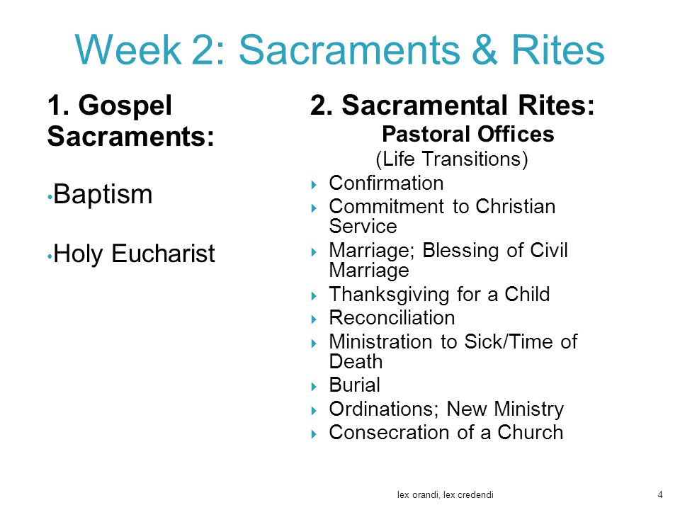 1. Gospel Sacraments: Baptism Holy Eucharist 2. Sacramental Rites: Pastoral Offices (Life Transitions)  Confirmation  Commitment to Christian Servic