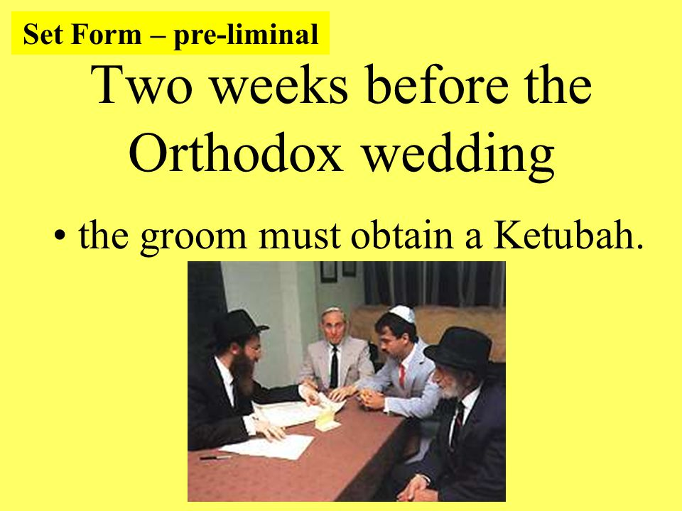 Two weeks before the Orthodox wedding the groom must obtain a Ketubah. Set Form – pre-liminal