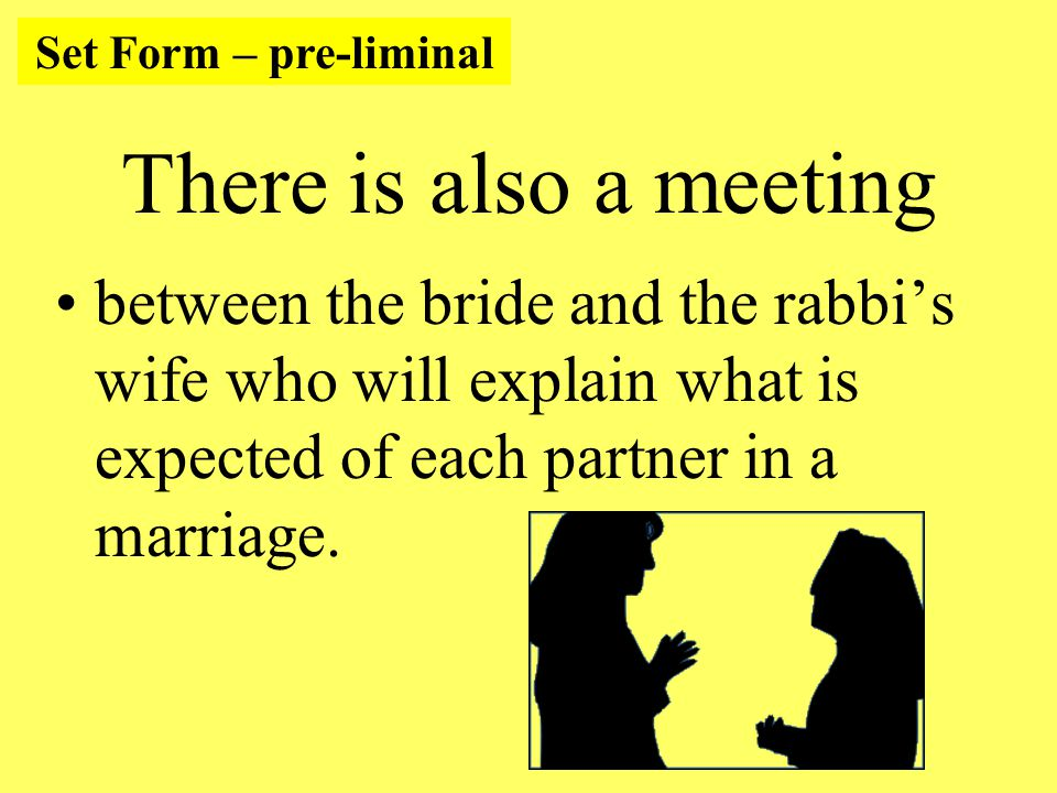 There is also a meeting between the bride and the rabbi's wife who will explain what is expected of each partner in a marriage.