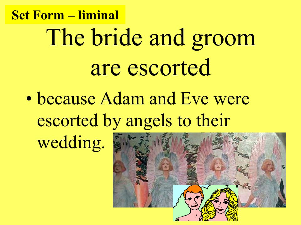 The bride and groom are escorted because Adam and Eve were escorted by angels to their wedding.
