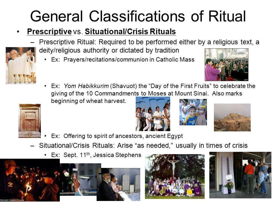 General Classifications of Ritual Prescriptive vs.