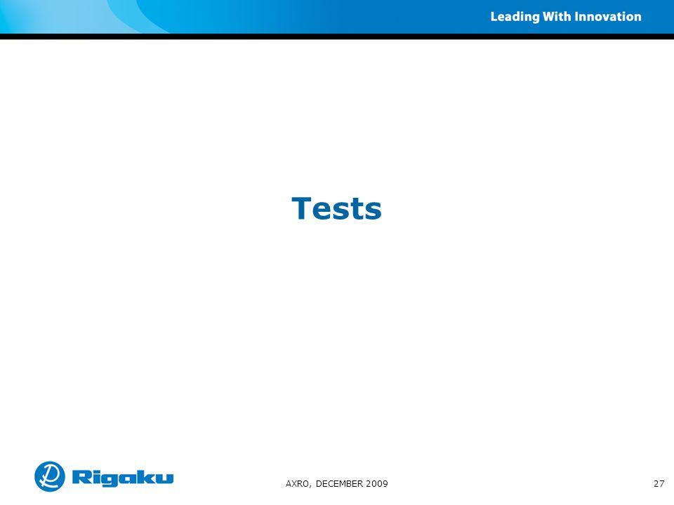 Tests AXRO, DECEMBER 200927