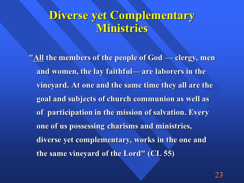  Diverse yet Complementary Ministries All the members of the people of God — clergy, men and women, the lay faithful— are laborers in the vineyard.