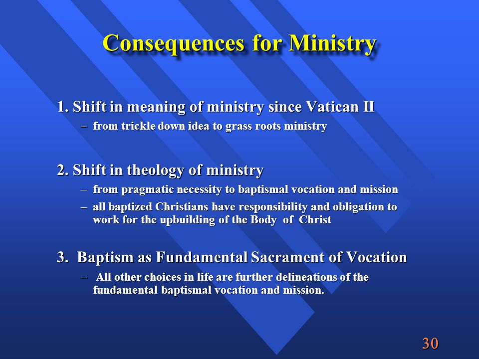  Consequences for Ministry 1.