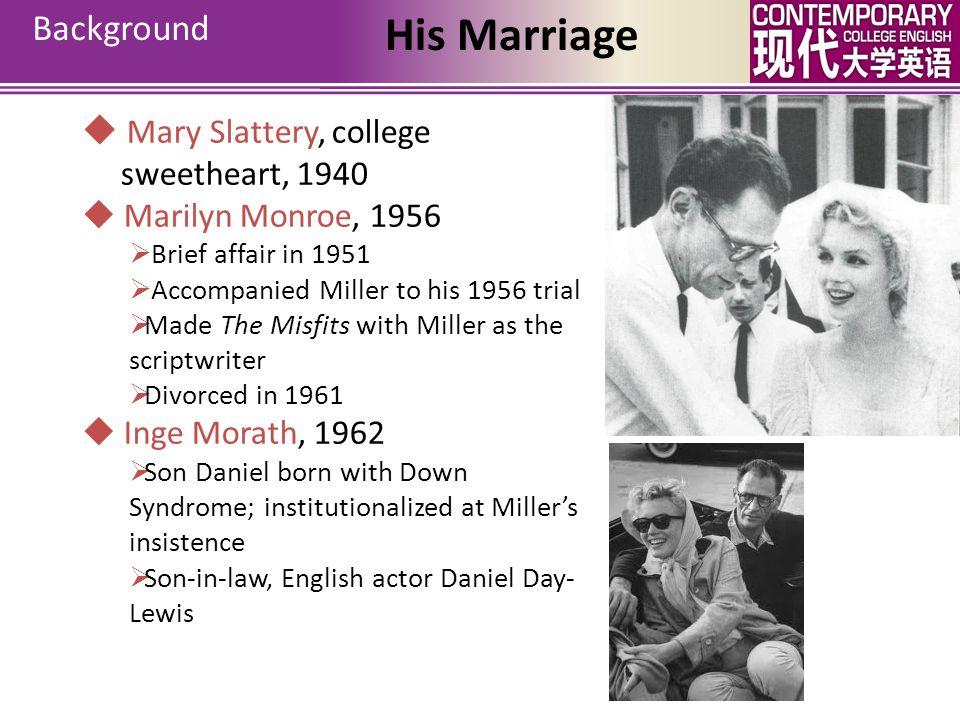 Background His Marriage  Mary Slattery, college sweetheart, 1940  Marilyn Monroe, 1956  Brief affair in 1951  Accompanied Miller to his 1956 trial