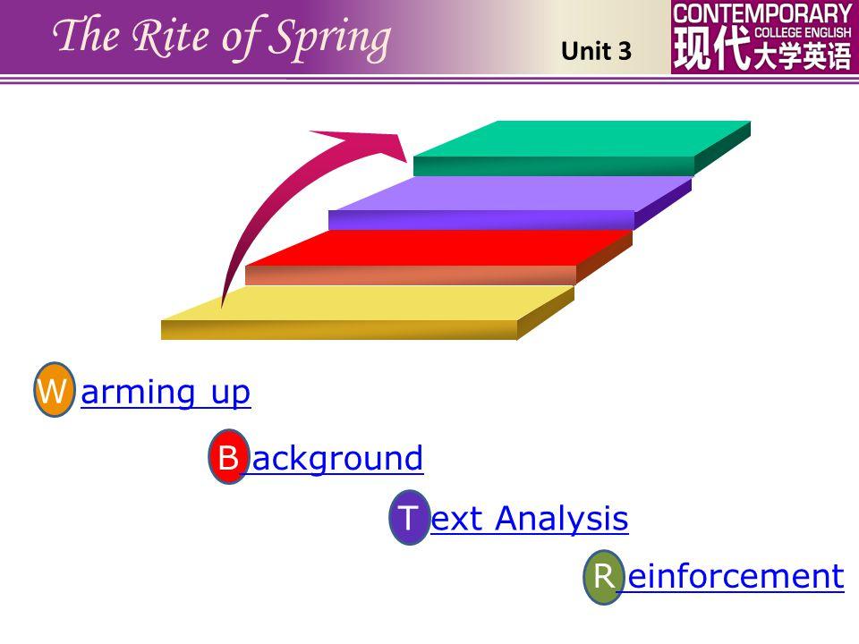 R einforcement einforcement T ext Analysisext Analysis The Rite of Spring B ackground ackground W arming uparming up Unit 3