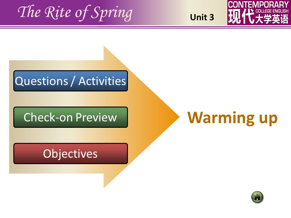 Questions / Activities Check-on Preview Objectives The Rite of Spring Warming up Unit 3