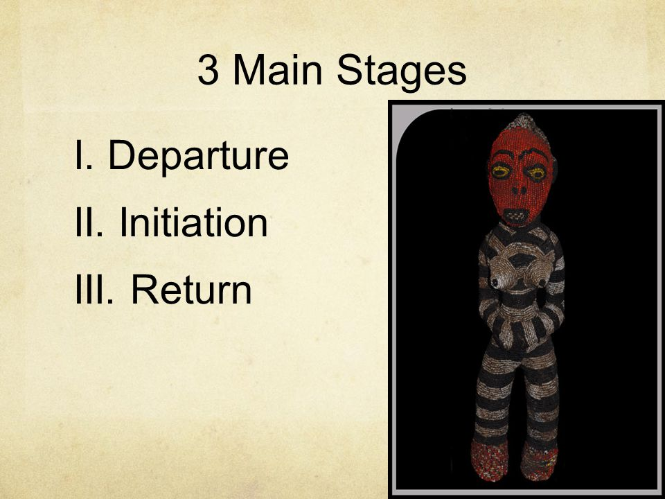 3 Main Stages I. Departure II. Initiation III. Return