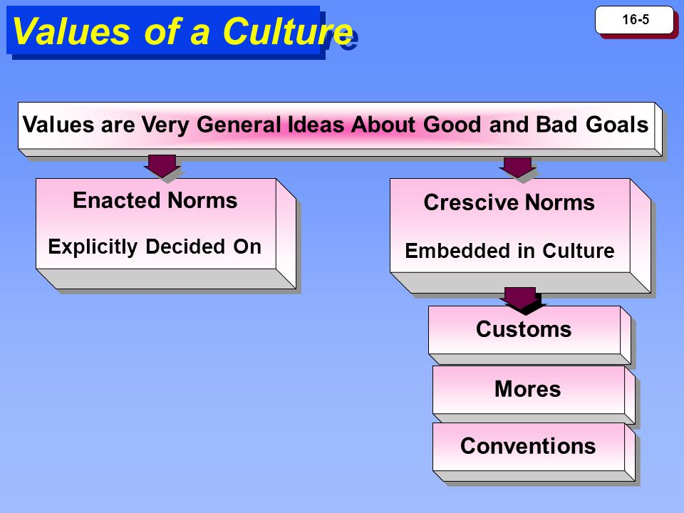 16-5 Values of a Culture Values are Very General Ideas About Good and Bad Goals Enacted Norms Explicitly Decided On Enacted Norms Explicitly Decided On Crescive Norms Embedded in Culture Crescive Norms Embedded in Culture Customs Mores Conventions