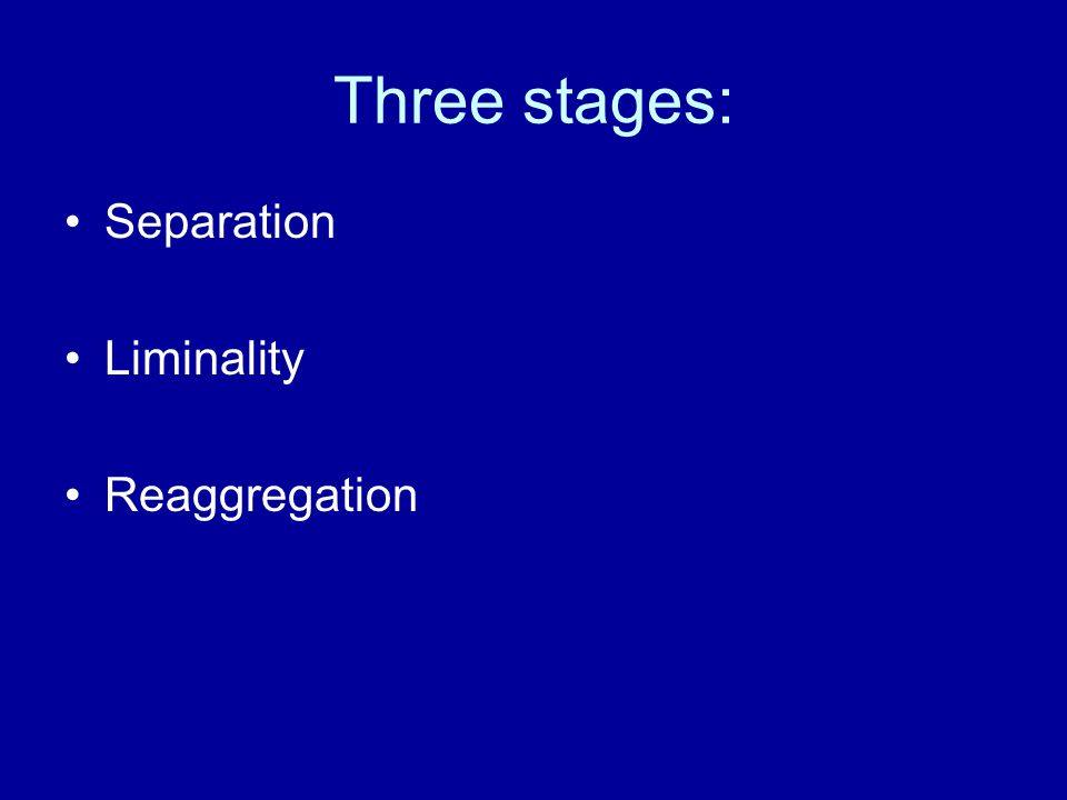 Three stages: Separation Liminality Reaggregation