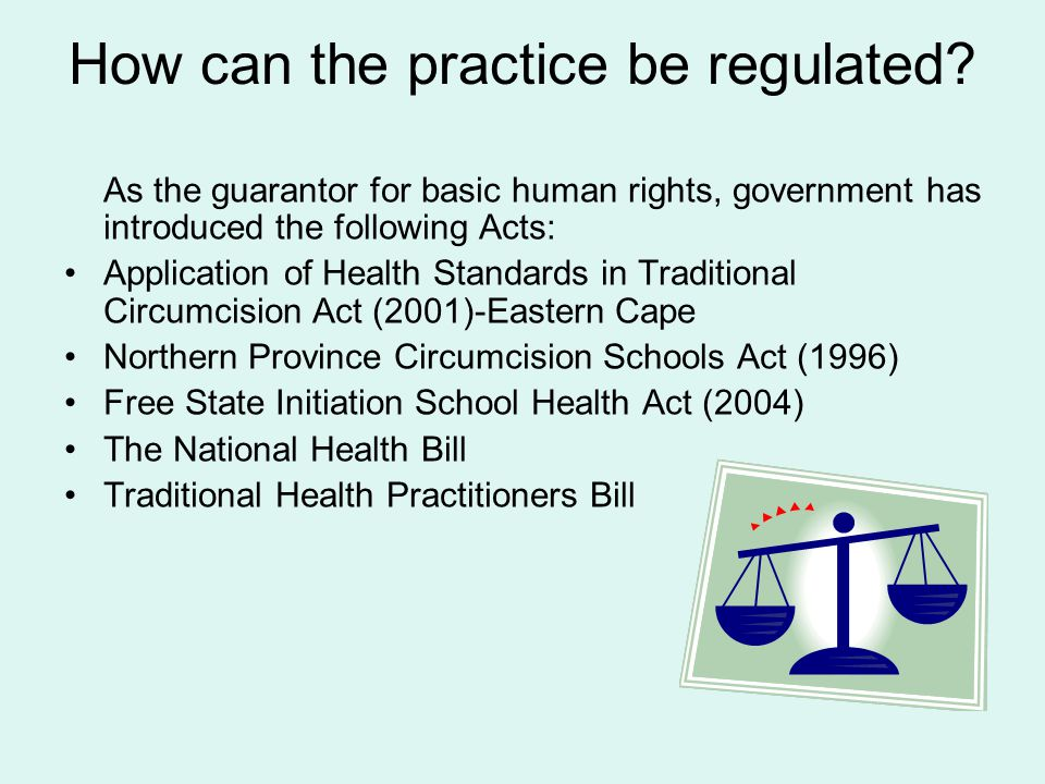 How can the practice be regulated.