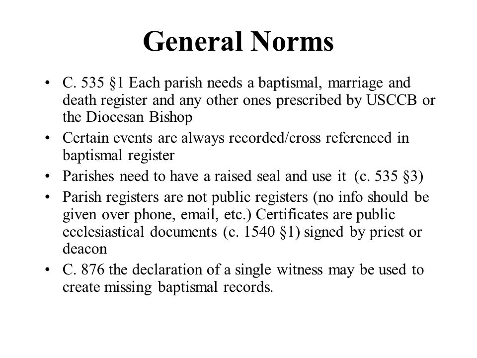 Premarital files Each parish is required to maintain a file of papers collected during the period of marriage preparation.
