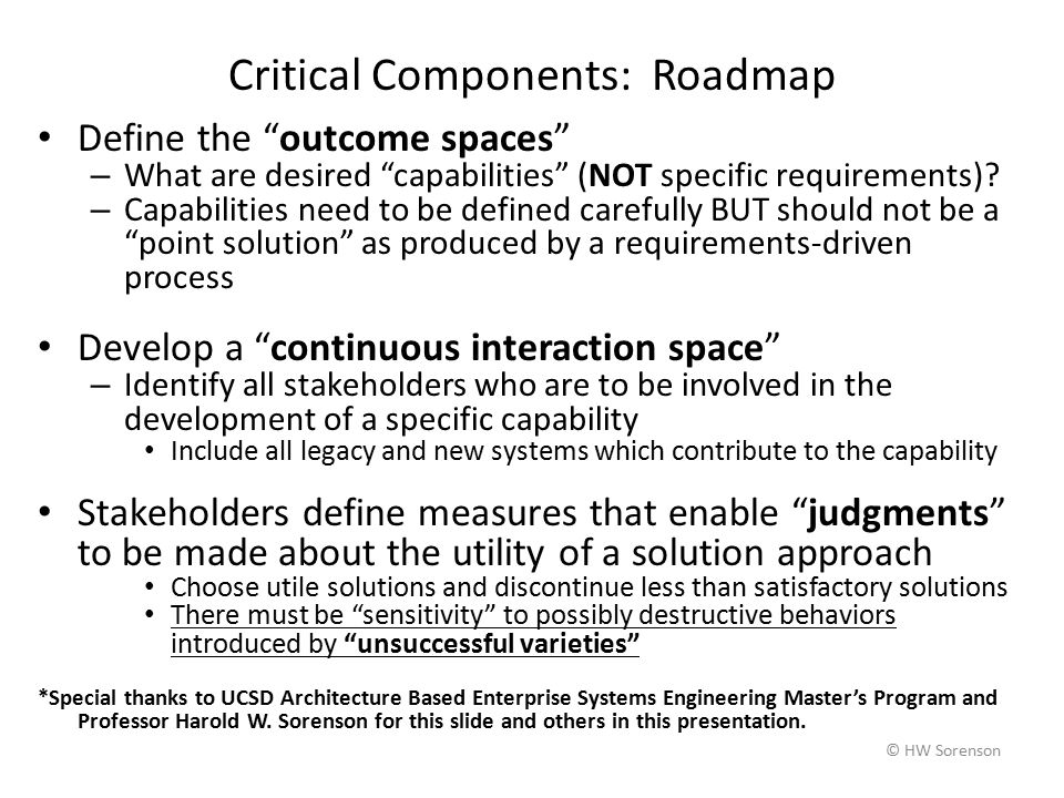 © HW Sorenson Critical Components: Roadmap Define the outcome spaces – What are desired capabilities (NOT specific requirements).