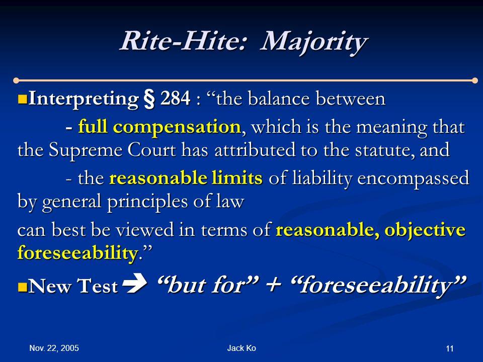 "Nov. 22, 2005 Jack Ko 11 Rite-Hite: Majority Interpreting § 284 : ""the balance between Interpreting § 284 : ""the balance between - full compensation,"