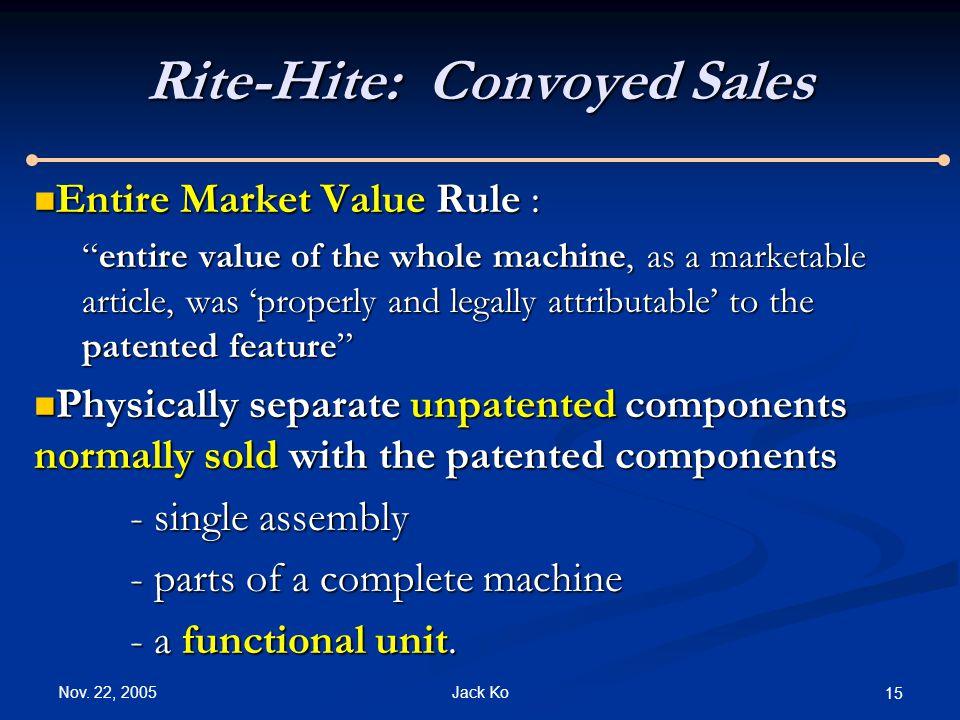 "Nov. 22, 2005 Jack Ko 15 Rite-Hite: Convoyed Sales Entire Market Value Rule : Entire Market Value Rule : ""entire value of the whole machine, as a mark"
