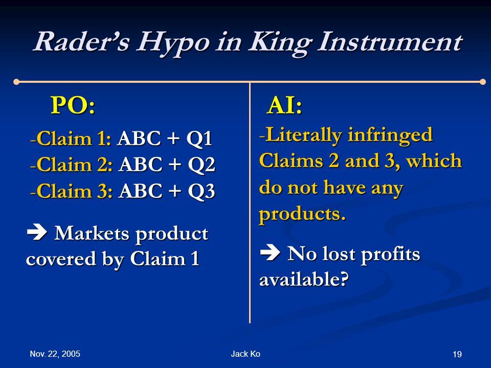 Nov. 22, 2005 Jack Ko 19 Rader's Hypo in King Instrument PO:AI: -Claim 1: ABC + Q1 -Claim 2: ABC + Q2 -Claim 3: ABC + Q3 -Literally infringed Claims 2