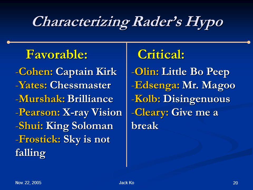 Nov. 22, 2005 Jack Ko 20 Characterizing Rader's Hypo Favorable:Critical: -Cohen: Captain Kirk -Yates: Chessmaster -Murshak: Brilliance -Pearson: X-ray