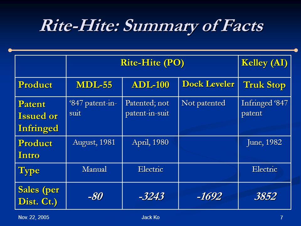 Nov. 22, 2005 Jack Ko 7 Rite-Hite: Summary of Facts Rite-Hite (PO) Kelley (AI) ProductMDL-55ADL-100 Dock Leveler Truk Stop Patent Issued or Infringed