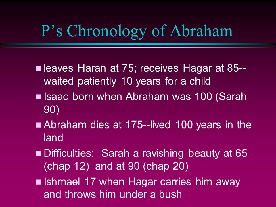 P's Chronology of Abraham n leaves Haran at 75; receives Hagar at 85-- waited patiently 10 years for a child n Isaac born when Abraham was 100 (Sarah 90) n Abraham dies at 175--lived 100 years in the land n Difficulties: Sarah a ravishing beauty at 65 (chap 12) and at 90 (chap 20) n Ishmael 17 when Hagar carries him away and throws him under a bush