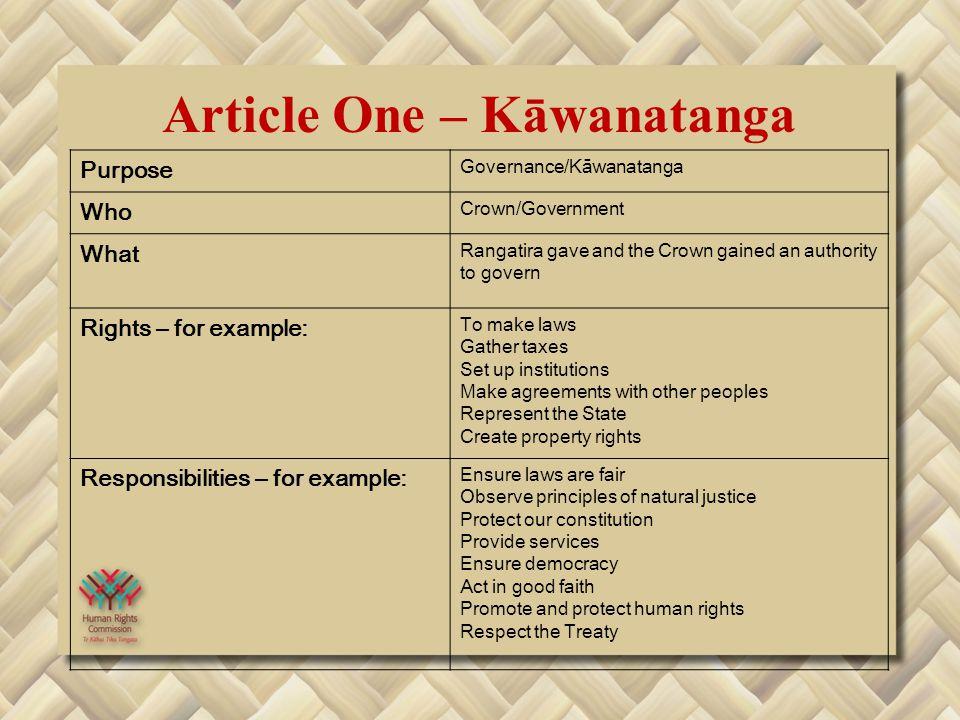 Article One – Kāwanatanga Purpose Governance/Kāwanatanga Who Crown/Government What Rangatira gave and the Crown gained an authority to govern Rights –