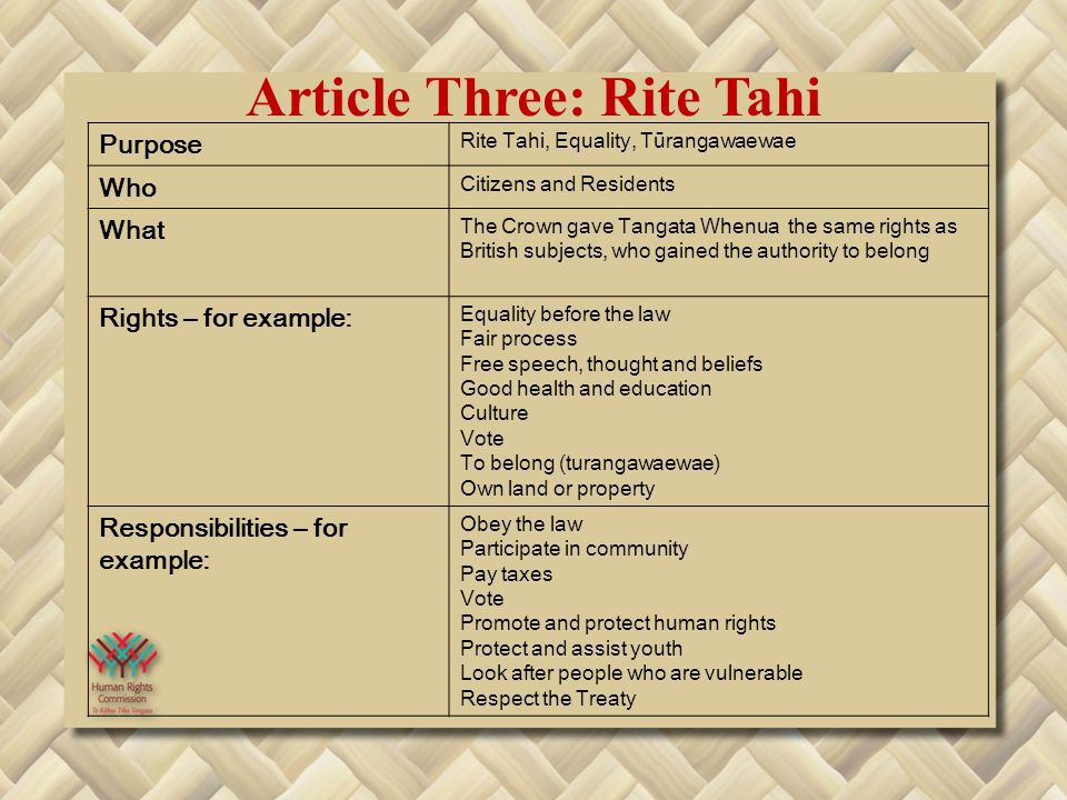 Article Three: Rite Tahi Purpose Rite Tahi, Equality, Tūrangawaewae Who Citizens and Residents What The Crown gave Tangata Whenua the same rights as British subjects, who gained the authority to belong Rights – for example: Equality before the law Fair process Free speech, thought and beliefs Good health and education Culture Vote To belong (turangawaewae) Own land or property Responsibilities – for example: Obey the law Participate in community Pay taxes Vote Promote and protect human rights Protect and assist youth Look after people who are vulnerable Respect the Treaty