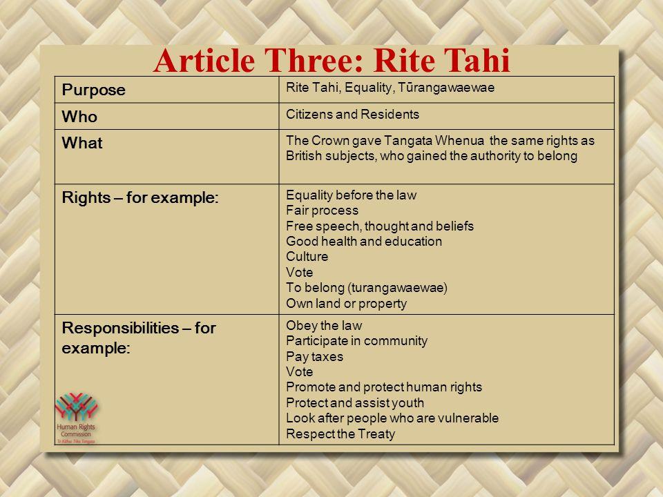 Article Three: Rite Tahi Purpose Rite Tahi, Equality, Tūrangawaewae Who Citizens and Residents What The Crown gave Tangata Whenua the same rights as B