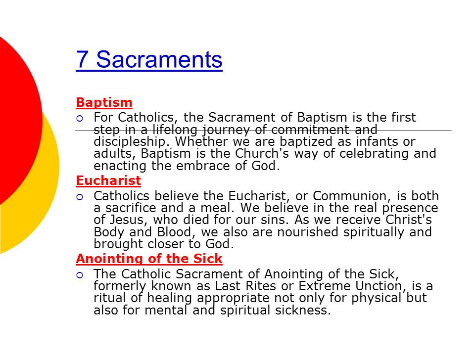 7 Sacraments Baptism  For Catholics, the Sacrament of Baptism is the first step in a lifelong journey of commitment and discipleship.