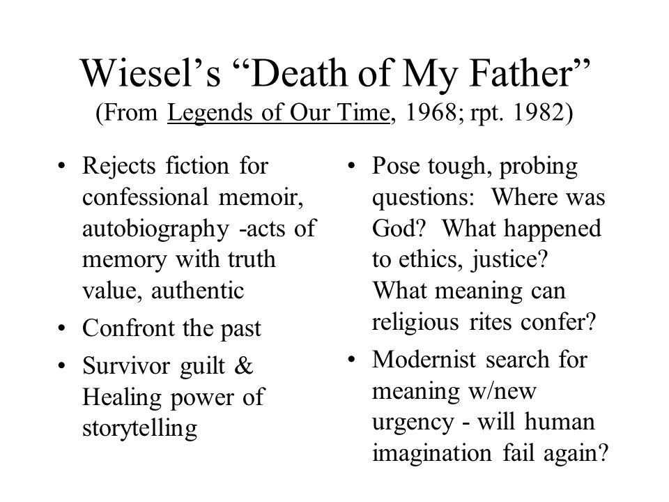 Wiesel's Death of My Father (From Legends of Our Time, 1968; rpt.