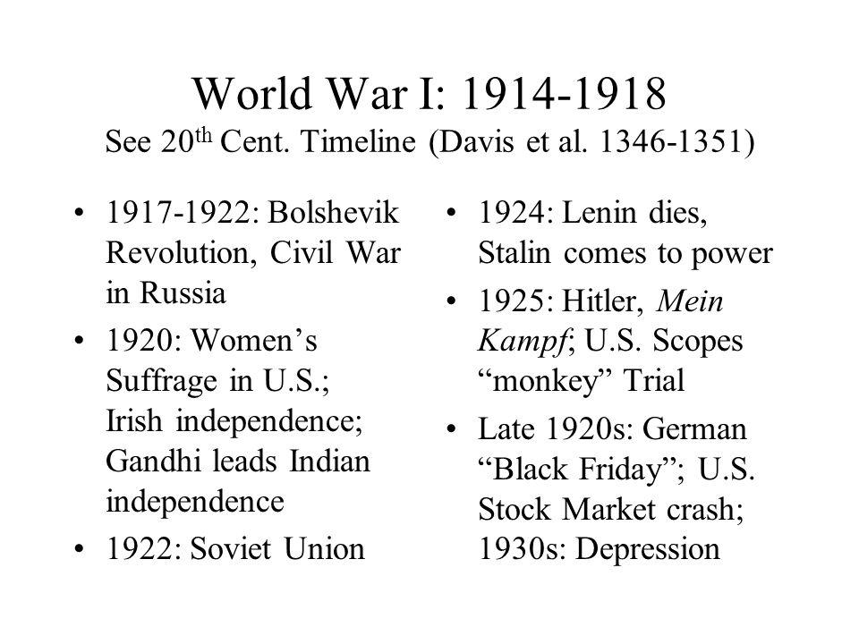 World War I: 1914-1918 See 20 th Cent. Timeline (Davis et al.