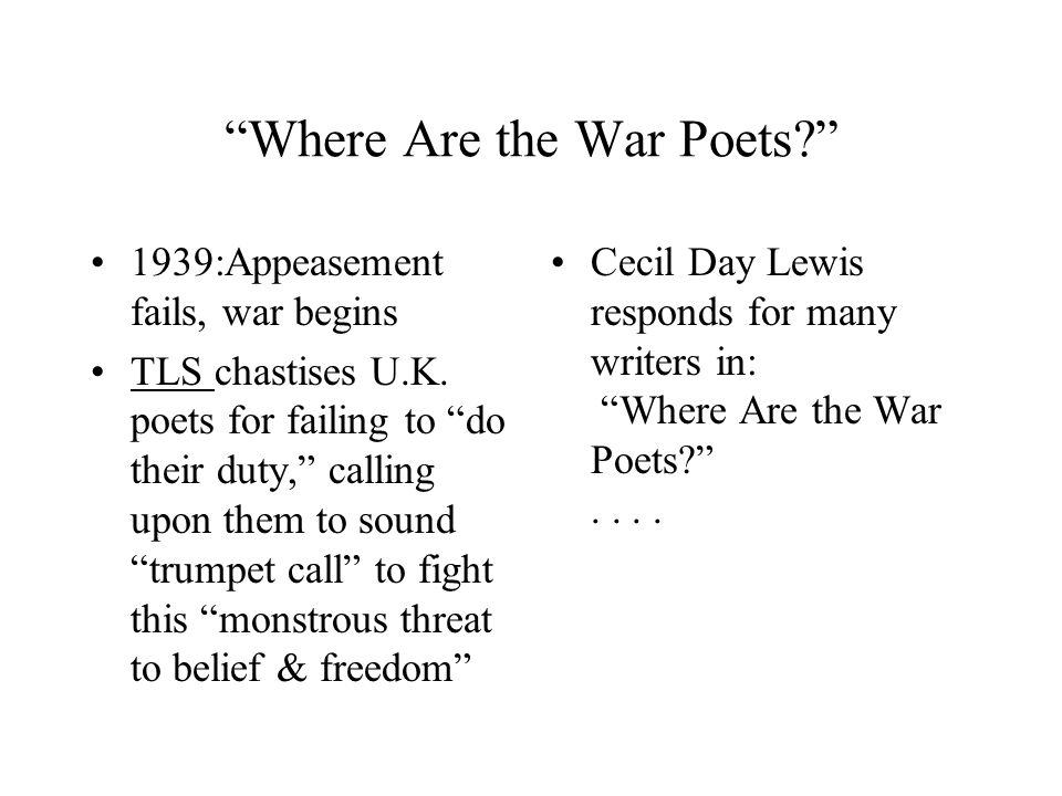 Where Are the War Poets? 1939:Appeasement fails, war begins TLS chastises U.K.