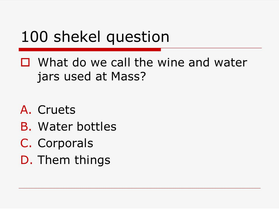 100 shekel question  What do we call the wine and water jars used at Mass.
