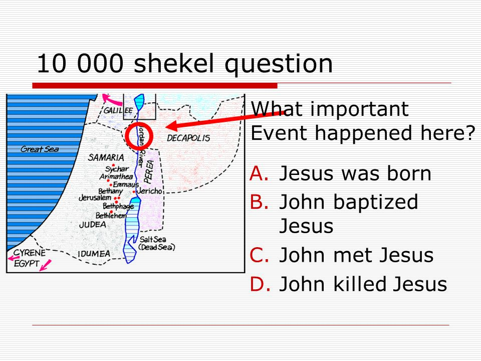 10 000 shekel question A.Jesus was born B.John baptized Jesus C.John met Jesus D.John killed Jesus What important Event happened here
