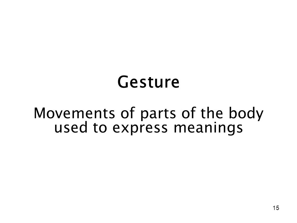 15 Gesture Movements of parts of the body used to express meanings